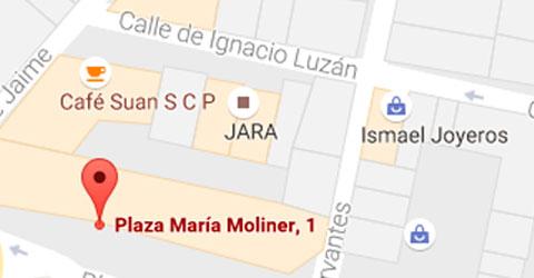 Mapa despacho en Plaza Masría Moliner - Monzón